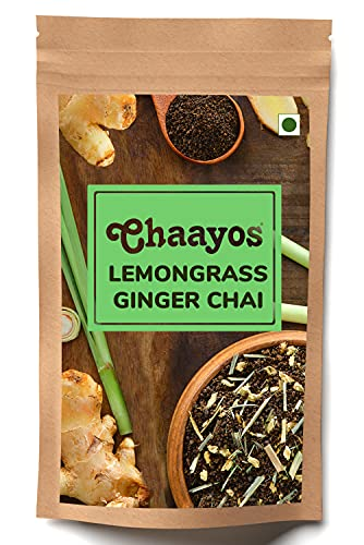 Chaayos Lemongrass Ginger Tea - Premium Chai Patti for Cough & Cold Remedy - 100g [50 Cups]