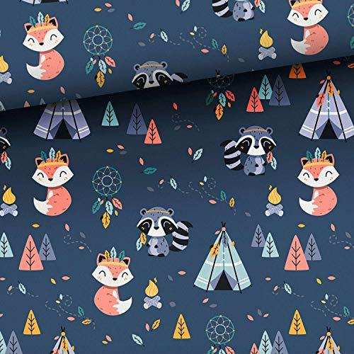 Herz Stoffe Österreich Tela de algodón para niños, 0,5 m, diseño de zorros y mapaches, animales del bosque, en azul oscuro/azul marino, no se vende por metros, tela infantil