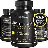 Vitamin D3 K2 MK-7 Supplements - New - Full 3,000 IU Per Capsule Plus 115mcg MK7 from Natto - Natural, Effective - Vitamin K2 Supports Bone and Heart Health - Gluten Free - 90 Capsules