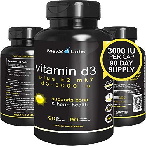 Vitamina D3con Vitamina K2MK-7, 3.000UI por cápsula más 115mcg de MK7a partir de natto, natural, eficaz, seguro, para la salud de huesos y corazón, sin gluten, 90Cápsulas
