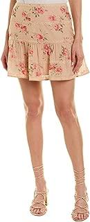 Womens Lace-Trim Skirt, L, Brown