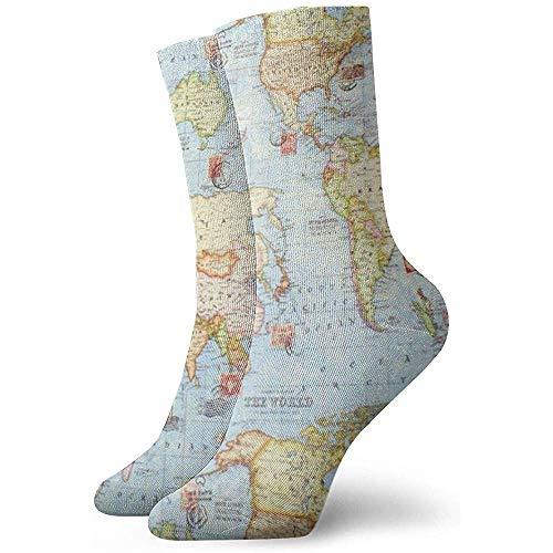 NA Coole kleurrijke vrijetijdssokken - nieuw grappige vrijetijdssokken Atlas World Map Blue Travel
