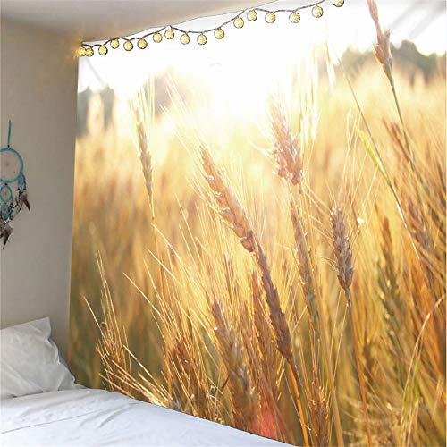 mohanshop 3D Tapestry Wheat M1 Mandala Hippie Wall Hanging Indian Bohemian Dorm Decor Single Multi-Colored Bedsheet Print Picnic Table Cloth 260(H) X300(W) Cm