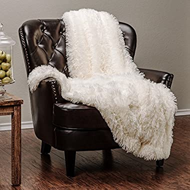 Chanasya Super Soft Shaggy Chick Longfur Throw Blanket - Snuggly Fuzzy Faux Fur Lightweight Warm Elegant Cozy Sherpa - For Couch Bed Chair Sofa Daybed - 60 x 70  - (Machine Washable) - Ivory White