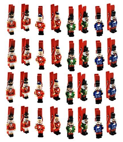 Unbekannt 32 Dekoklammern Nussknacker mit Klammer