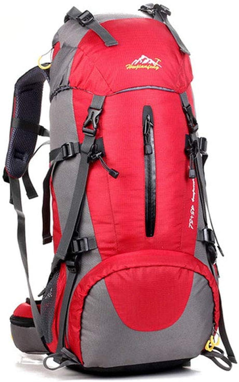 50L Wanderruckscke, Bergsteigen ergonomischer wasserdichter Outdoor-Wanderrucksack für Reisen Camping Wandern Trekkingruckscke,rot