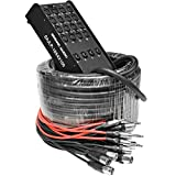 Seismic Audio - SAJLP-16x4x100-16 Channel 100 Foot XLR Low Profile Snake Cable with 4 TRS Returns -...