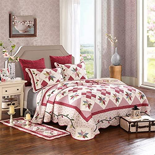 GLXLSBZ 3-teiliges Tagesdecken-Bordüre, gesteppter Bettüberwurf mit 2 Kissenbezügen, hypoallergen, Vintage-Stil, 230 x 250 cm