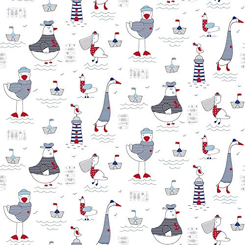 Tela de algodón de 0,5 m de animales con gaviotas, pelícanos, etc. | Gran tela náutica para niños.