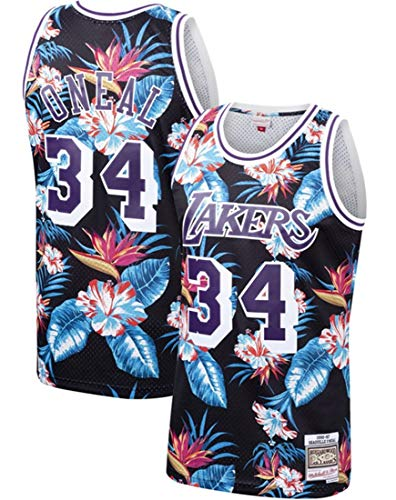 GIHI Lakers NBA Jersey, Shaquille O'neal # 34 Jersey Ventilador Bordadas Retro Malla De Baloncesto Ropa De Entrenamiento, Unisex Camiseta Sin Mangas,M(170~175cm/65~75kg)