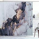 Marmor Duschvorhang mit 12 Haken, einfaches modernes wasserdichtes Badezimmerdekor aus Polyester, farbecht, wasserdicht, 180 * 180 cm (Goldene)