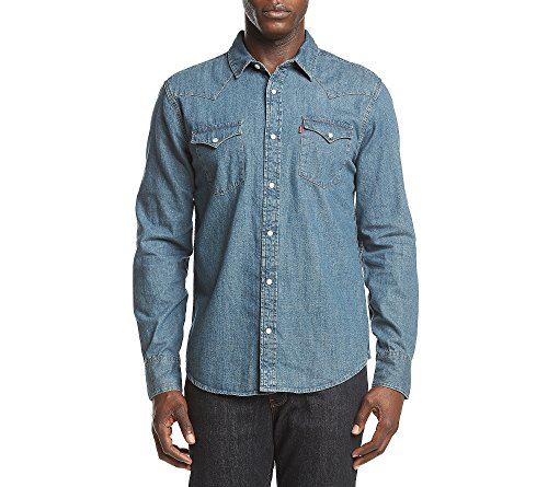 Photo of Levi's Men's Long Sleeve Western Button Down Shirt Acid Wash Small