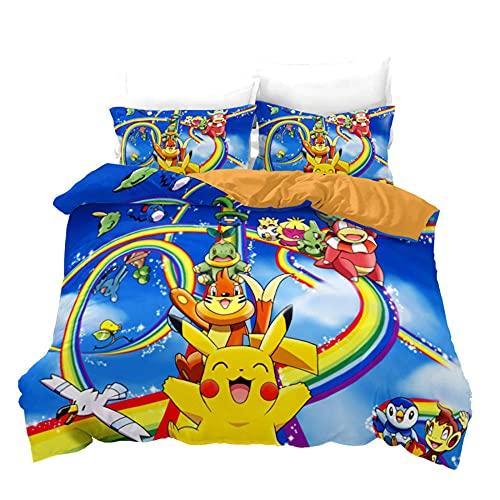 Pikachu Pokemon / Anime De Dibujos Animados Funda Nordica 240X220 3 Piezas con Cremallera Y 2 Fundas De Almohada De 40X75Cm 220 X 240 Cm Funda Nordica Microfibra Suave De Calidad Hotelera 2 Personas
