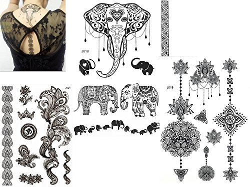 3 Bögen temporäre Henna Flash Tattoos - Black C
