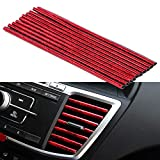 Tira decorativa salida de aire para coche, 10 PCS Tira Moldura Interior de Coche, Tiras de salida de aire acondicionado ventilación de aire Cubierta protectora (rojo-ice)