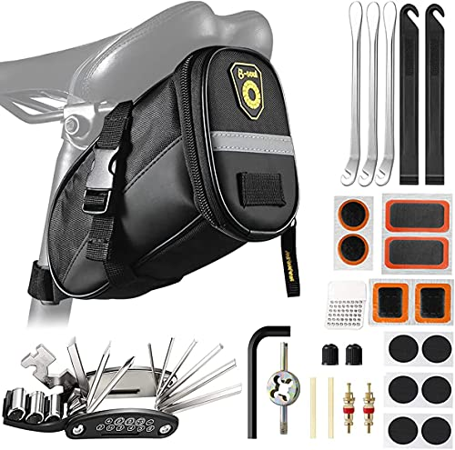 ECHOY Bike Saddle Bag, Bike Bag with Bicycle Repair Kits, 16 in 1 Multi-Function Bicycle Tool Kits Self Adhesive Bike Tire Patch Repair Cycling Accessories for Mountain Road Bikes
