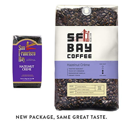 SF Bay Coffee Hazelnut Crème Whole Bean 2LB (32 Ounce) Flavored Medium Roast (Packaging May Vary)