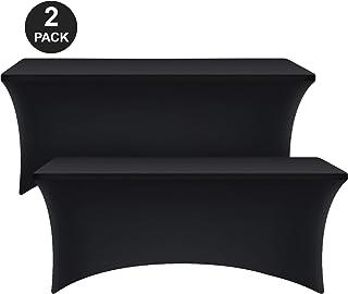 KICHLY Mantel Rectangular Stretch Spandex Apretado Mesa Cubierta hogar - Negro (2, 6 ft (183 cm))