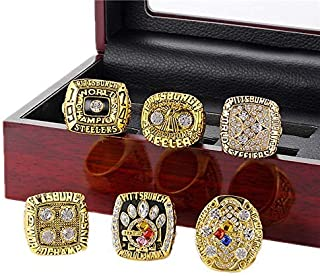 Gloral HIF 6 Pcs Set Pittsburgh Steelers Championship Ring Football Super Bowl Championship Ring Gold with Box