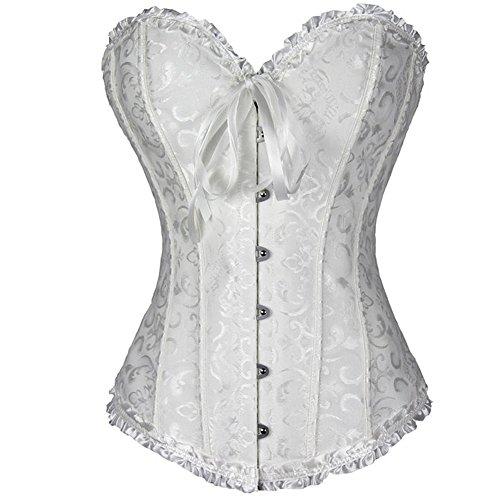 FeelinGirl Frauen Bridal Wäsche schnürt sich oben Satin ohne Knochen Korsett mit G-Schnur 3XL...