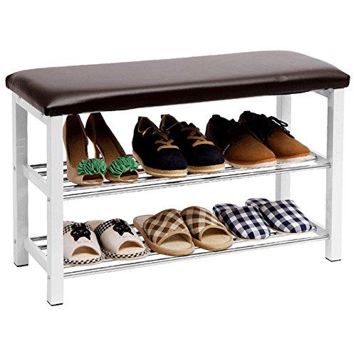 WENZHE Étagères À Chaussures Support Meubles Tabouret À Chaussures Peut S'asseoir Casiers Multifonction, 3 Couches, 80.5 * 30.5 * 51.8cm