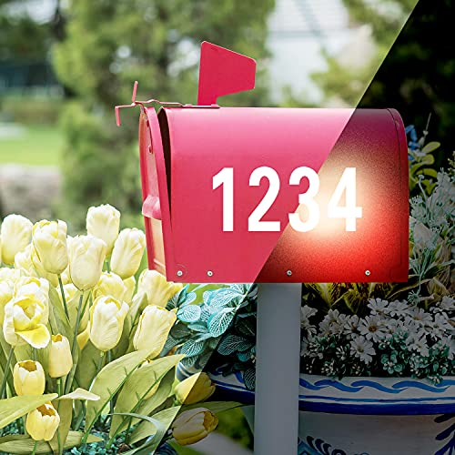 VUDECO 40 PCs Decal Reflective Mailbox Numbers Stickers House Numbers For Outside Address Numbers for Houses Adhesive Number Stickers Waterproof Mailbox Numbers For Outside Fade-Resistant 2 inch White