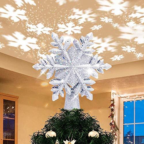BIOBEY Adorno de árbol de Navidad Decoración ligera Luz de proyector estrella...