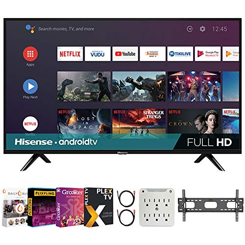 Hisense 43H5500G 43 Inch H55 Series FHD Smart Android TV with DTS Studio Sound Bundle with Premiere Movies Streaming + 37-100 Inch TV Wall Mount + 6-Outlet Surge Adapter + 2X 6FT 4K HDMI 2.0 Cable