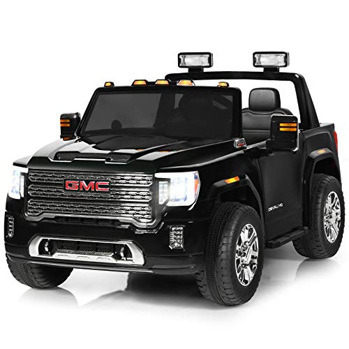 Costzon 2 Seater Ride on Truck, 12V Licensed GMC Battery Powered Car w/ 2.4G Remote Control, LED Lights, Horn, Music, MP3/USB, Storage Box, Spring Suspension, Electric Vehicle for Kids (Black)