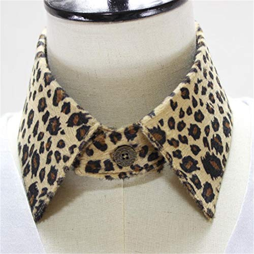 LRrui-Cuello de Blusa Cuello de Las señoras de la Vendimia, Mujeres de alquileres de alquileres Removibles, coilar Falso, Leopardo, impresión de Leopardo Collar Desmontable Fácil de Combinar