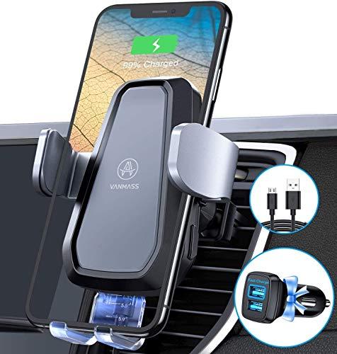 VANMASS Qi Fast Wireless Charger Auto Handyhalterung 10W Motor Betrieb mit Built-In Akku Automatisch Handyhalter Fürs Auto 2 Lüftungsclips Qi Ladestation Auto Für iPhone Samsung Huawei Alle Qi Geräte