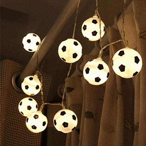 Zshhy 6M 40LEDs Soccer Balls String Garland Decoration Bedrooms Home Theme Party Christmas Decorative Football Fairy Lights USB Powered-Warm_White