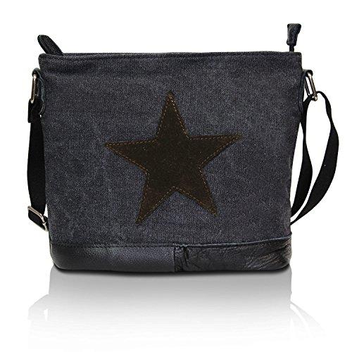 Glamexx24 Canvas Tasche Handtaschen Schultertasche Umhängetasche mit Stern Muster Tragetasche