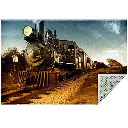 nakw88 Alfombrillas grandes de área redonda Impresas Sala de estar Suelo acolchado Dormitorio Alfombra Gruesa de Juego 160cm Vintage Tren Locomotora Vapor