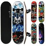 WeLLIFE - Skateboard RGX Tabla Skate (79 x 20 cm en 9 capas de acero diseño cóncavo rueda PU 54 x 36 mm Super Smooth para niños jóvenes adultos Rodamiento ABEC-7RS (411)