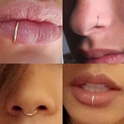 Fake Sterling Nose Ring Lip Ring Septum Cartilage Tragus Helix Ring Piercing 20g (6mm, Gold)