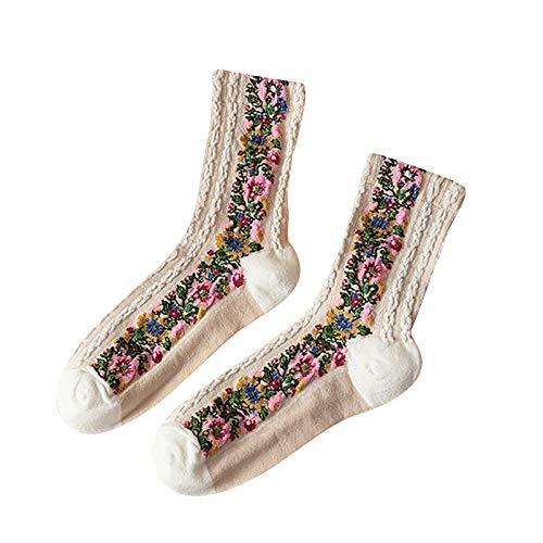 TJCJIEM Moda Calcetines Invierno Mujer - Chicas Calcetines Térmicos Deportivos Suave Socks Personalizados de Otoño Calentitos Calcetines Largos con Estampado Floral Retro Multicolor