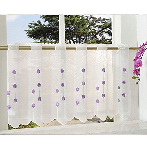 Gardinenbox Transparente Scheibengardine aus Voile, 40x120, Lila, luftiger Voile mit gesticktem Muster, 42002