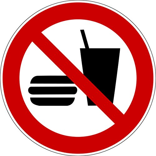 Aufkleber Essen und Trinken verboten Aufkleber Essen verboten (10 Stück) vorgestanzt für Innen & Außen, witterungsbeständig selbstklebend kein Essen Verbotszeichen Arbeitssicherheit P022 22