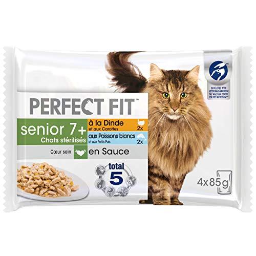 Perfect Fit Senior, Sachets fraîcheur pour chat senior stérilisé, en sauce aux poissons et à la dinde, 52 sachets repas de 85g