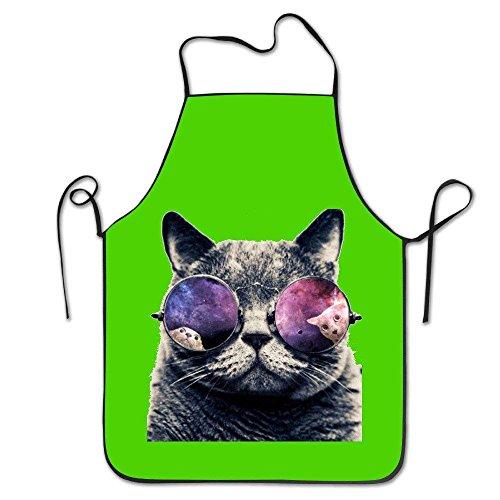 N\A Delantales de Chef Personalizados de Kitty Cat con Gafas de Sol