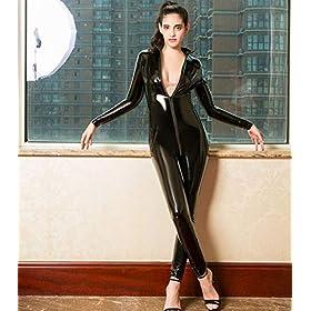 HOTFIRE Women's Wet Look Long Sleeve Bodysuit Zip Front to Butt Sexy Catsuit