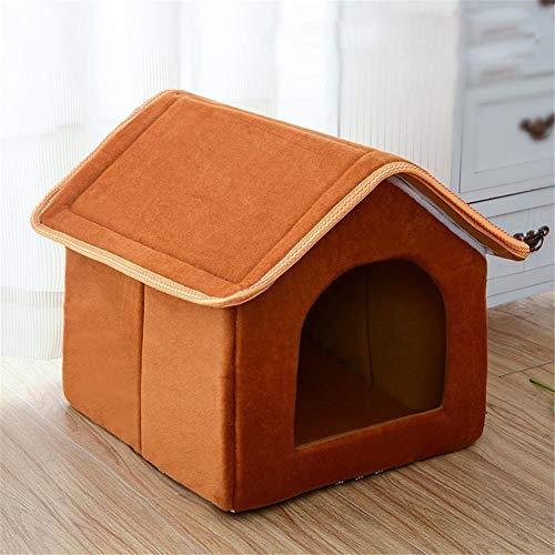 Pet House Cama Plegable con colchoneta Soft Winter Puppy Sofa Cojín House Kennel Nest Dog Cat Bed para Perros pequeños y medianos,Brown,46cmx38cmx34cm