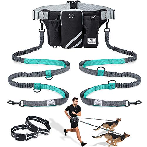 SHINE HAI Retractable Hands Free Dog Leash with Dual Bungees for 2 Dogs up to 150lbs, Adjustable Waist Belt, Reflective Stitching Leash for Running Walking Hiking Jogging Biking