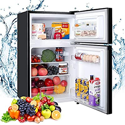 Compact Refrigerator. TECCPO 3.0 Cu.Ft, 2 Reversible Door Mini Fridge with Freezer, 7 Adjustable Thermostat Control, Energy Star, Super Quiet for Dorm, Office, Bedroom, Kitchen - Black - TAMF17