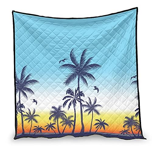 Colcha de verano Hawaii Coconut Tree Manta de viaje multiusos para niños y adultos Hawaii blanco 230 x 260 cm