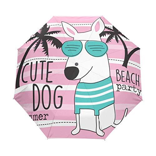 RXYY Tropisch Strand Hund Kokosnuss Baum Streifen Falten Auto Öffnen Schließen Regenschirm für Frauen Männer Jungs Mädchen Winddicht Kompakt Reise Leicht Regen Regenschirm