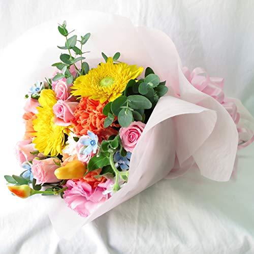 花 花束 誕生日 生花 フラワー お祝い 花束 誕生日プレゼント 花 女性 フラワーギフト サンモクスイの手作り (花束40㎝ 最短でお届け)
