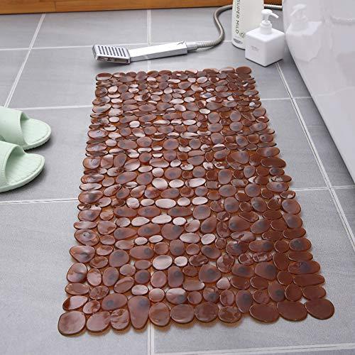 Bath Mat Shower Mat with Suction Cups Rubber Bath Shower Matte Stone Effect Modern - 34.6'x15.7', Coffee