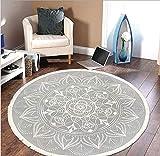 Pauwer Runder Teppiche Handgewebte Baumwolle Teppiche mit Quasten Rutschfest Abwaschbar Teppiche für Wohnzimmer Schlafzimmer Kinderzimmer,120cm